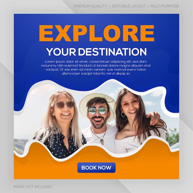 Mídia social postar modelo de viagem premium Vetor Premium