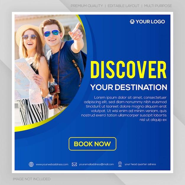 Mídia social postar tour e modelo de viagem Vetor Premium
