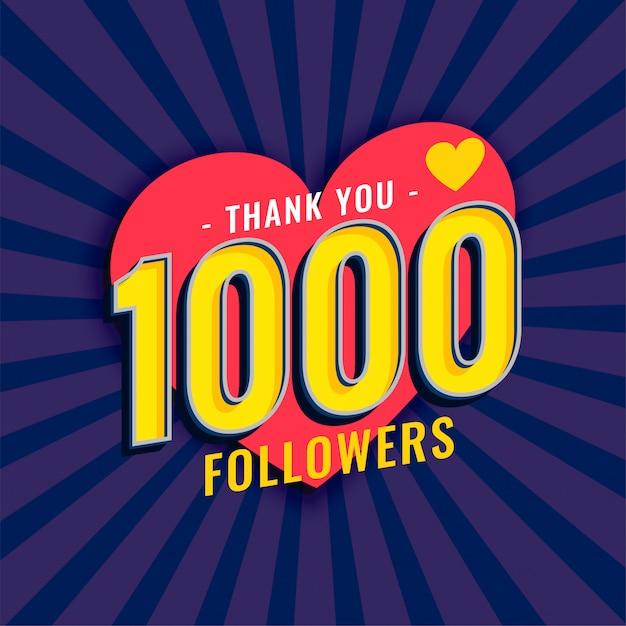 Mídias sociais 1000 seguidores fundo Vetor grátis