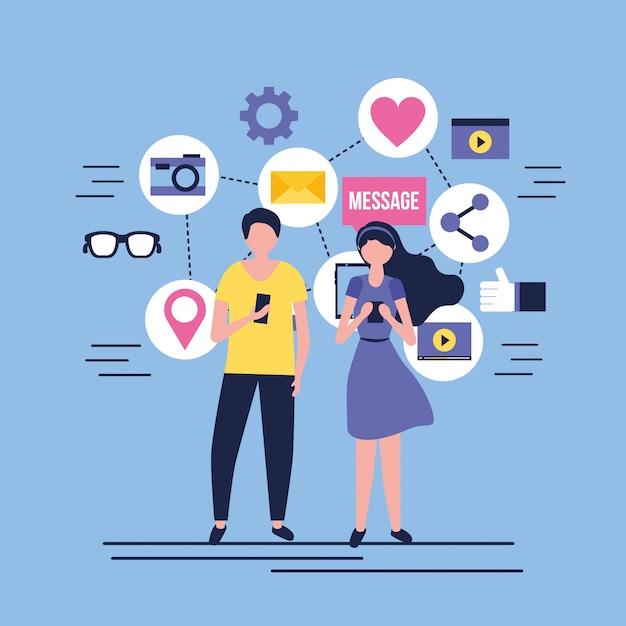 Mídias sociais digitais Vetor Premium