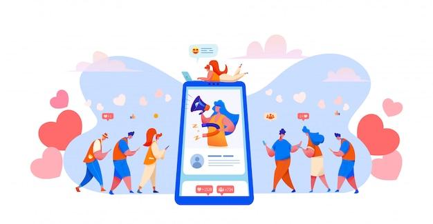 Mídias sociais, gerenciamento de blogs Vetor Premium