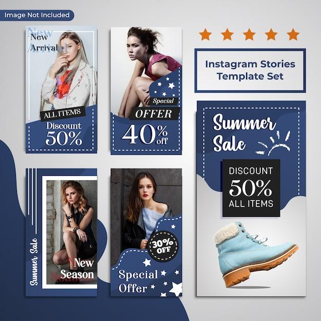 Mídias sociais moda desconto venda promoção azul template Vetor Premium