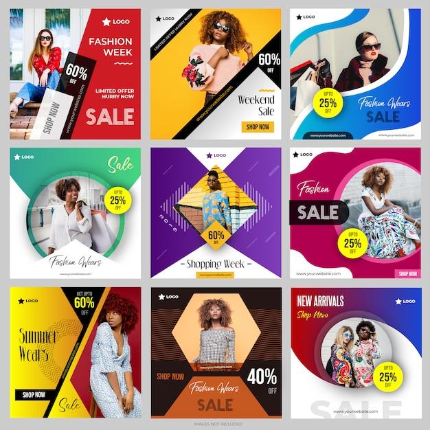Mídias sociais postar modelos definidos para instagram Vetor Premium