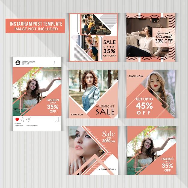 Mídias sociais postar modelos Vetor Premium