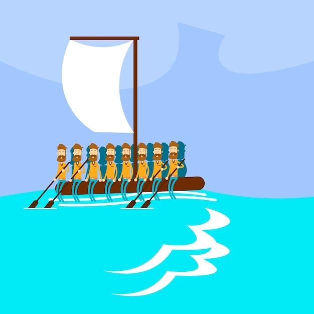Migrant crisis people group emigrante feito à mão barco Vetor Premium