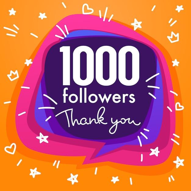 Mil seguidores, obrigado bandeira, estrelas, confetes e composição de letras Vetor Premium