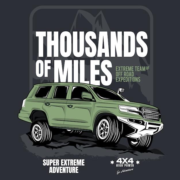 Milhares de quilômetros, cartaz do carro de tração nas quatro rodas Vetor Premium