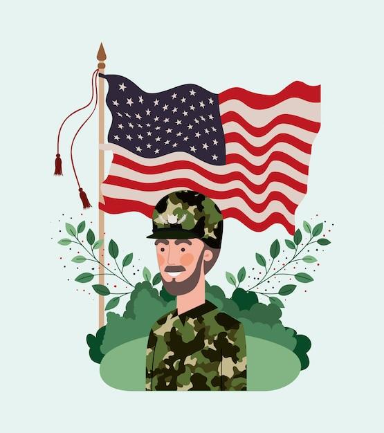 Militar com bandeira dos eua no campo Vetor Premium