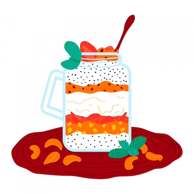 Milk-shake de creme de tangerina de morango, cocktail saudável batidos isolado no branco, ilustração dos desenhos animados. purê de frutas. Vetor Premium