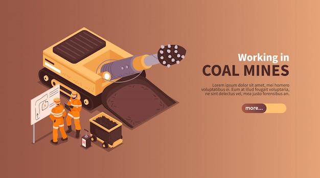 Mina a composição isométrica do banner com slider mais texto editável de botão e caracteres humanos da ilustração de mineiros de carvão Vetor grátis