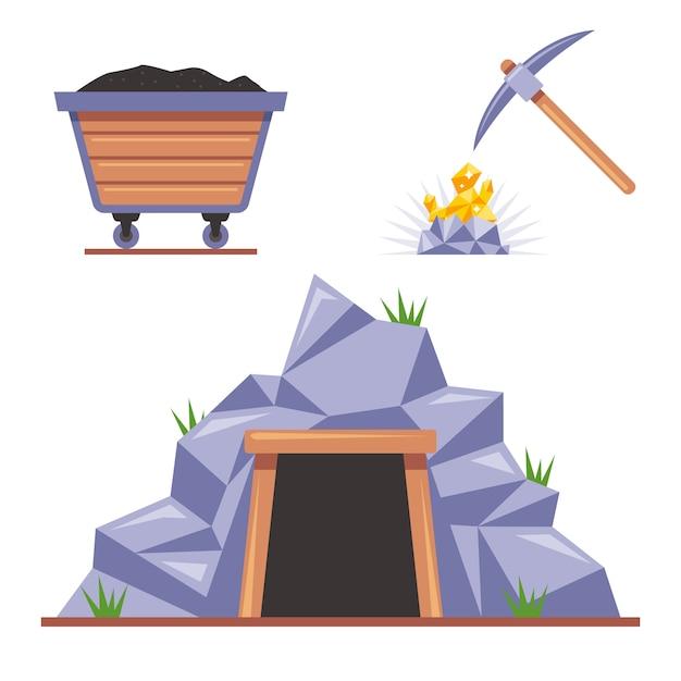 Mina na rocha para mineração. picareta bate na pedra. carrinho de madeira com carvão. ilustração plana isolada no fundo branco. Vetor Premium