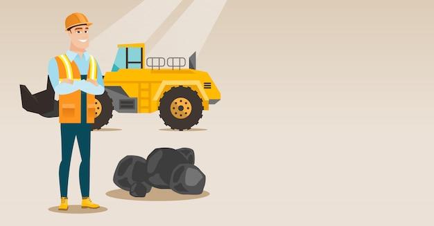 Mineiro com uma grande escavadeira Vetor Premium