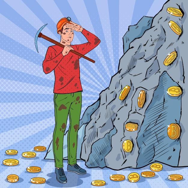 Mineiro de arte pop masculino com capacete e moedas bitcoin de mineração de picareta Vetor Premium