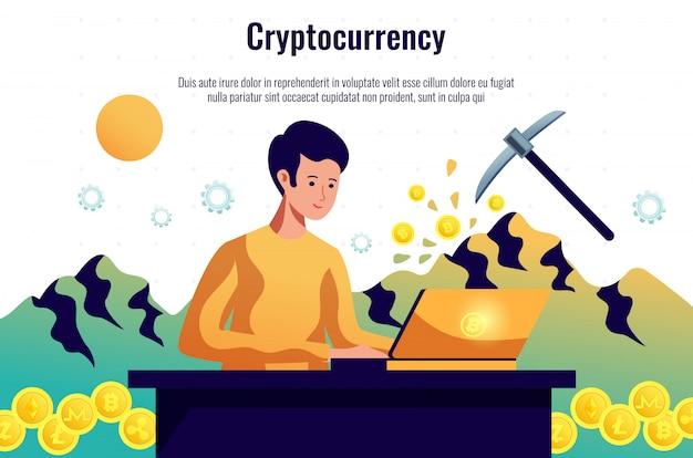 Mineiro de criptomoedas mantendo a rede blockchain trabalhando com software de computador Vetor grátis