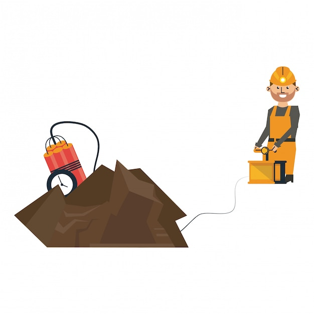 Mineração com tnt e trabalhador com detonador Vetor Premium