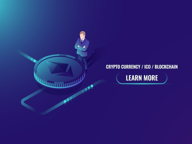 Mineração criptomoeda isométrica e conceito de compra, investimento em moeda criptografada Vetor grátis