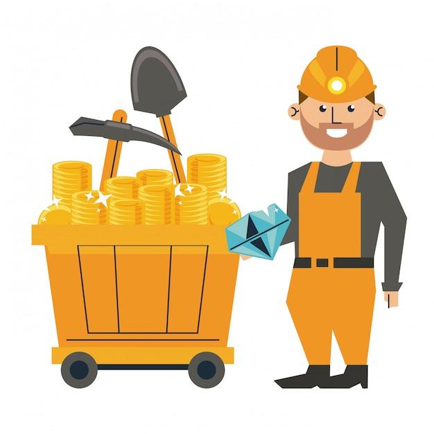 Mineração de diamantes e trabalhador com ferramentas no vagão Vetor Premium
