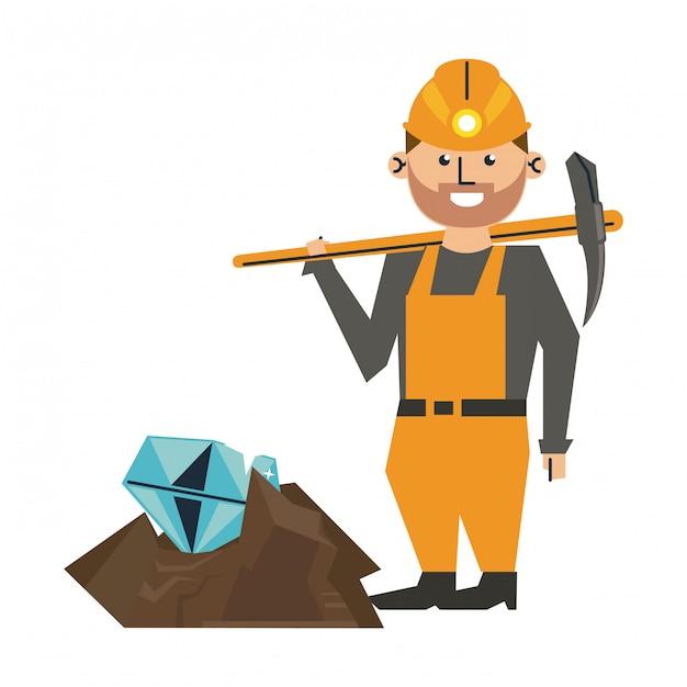 Mineração de diamantes e trabalhador com picareta Vetor Premium