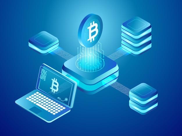 Mineração de moedas de criptomoeda, rede distribuída segura de blocos de minas conectados Vetor Premium
