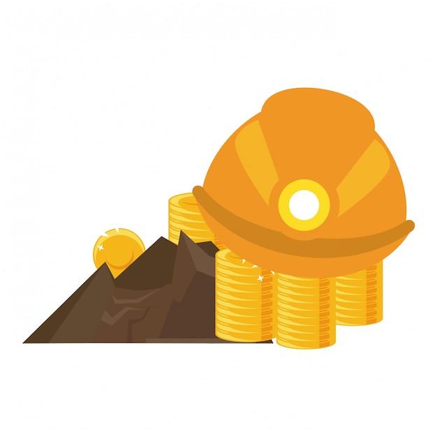 Mineração de moedas de ouro e capacete Vetor Premium