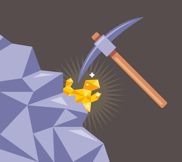 Mineração de ouro de rochas. corte o mineral com uma picareta da pedra. ilustração plana. Vetor Premium