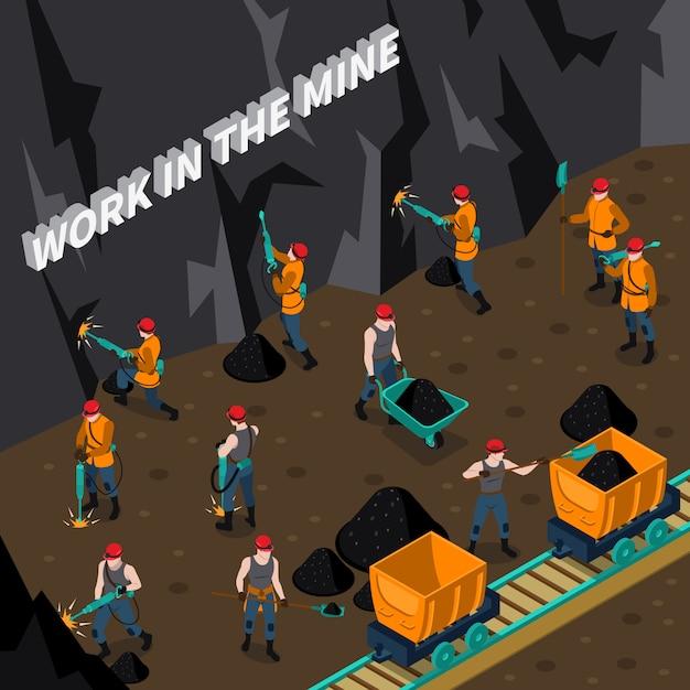 Mineração de pessoas isométrica Vetor grátis
