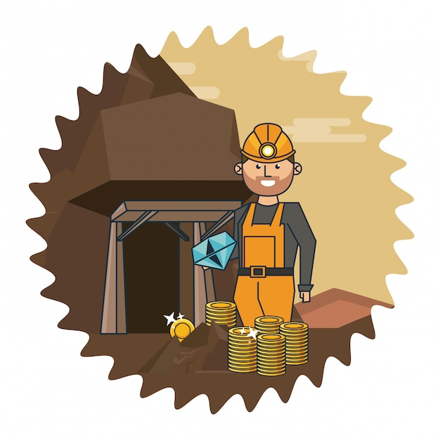 Mineração e trabalhador dos desenhos animados Vetor Premium