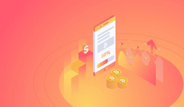 Mineração isométrica do bitcoin no conceito do smartphone. Vetor Premium