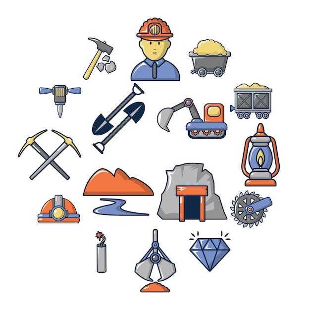 Mineração, minerais, negócio, ícone, jogo, caricatura, estilo Vetor Premium
