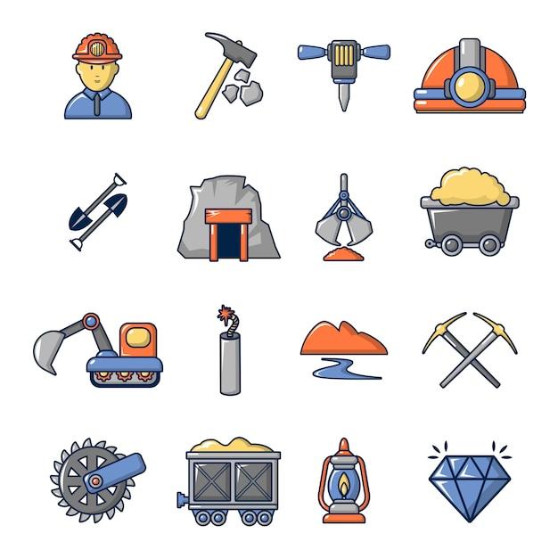 Mineração minerais negócios conjunto de ícones Vetor Premium