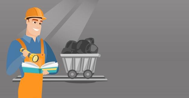 Mineração, verificação de documentos Vetor Premium
