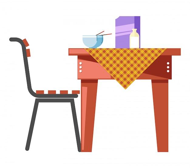Mingau de cereais, café da manhã na mesa, Vetor Premium