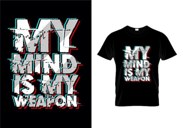 Minha mente é meu tshirt da tipografia da arma Vetor Premium