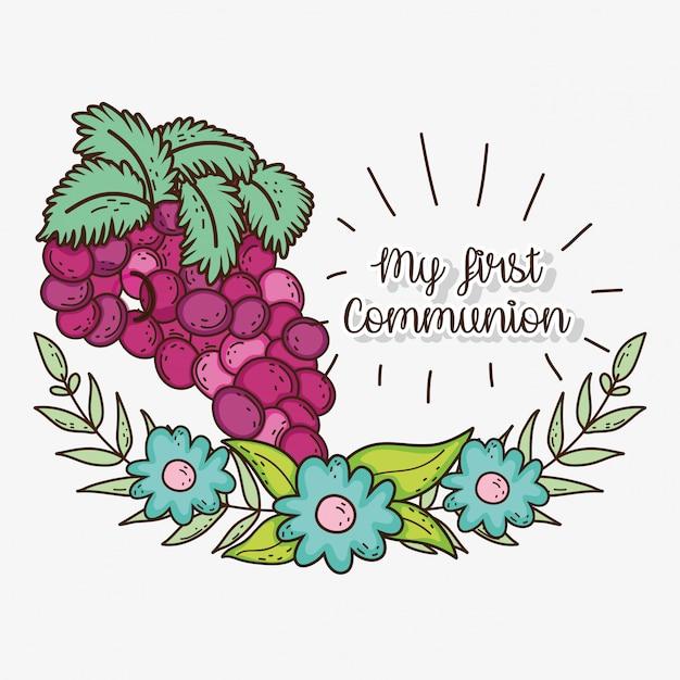 Minha primeira comunhão com grapers e flores com folhas Vetor Premium