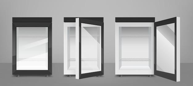 Mini geladeira preta com porta de vidro transparente Vetor grátis