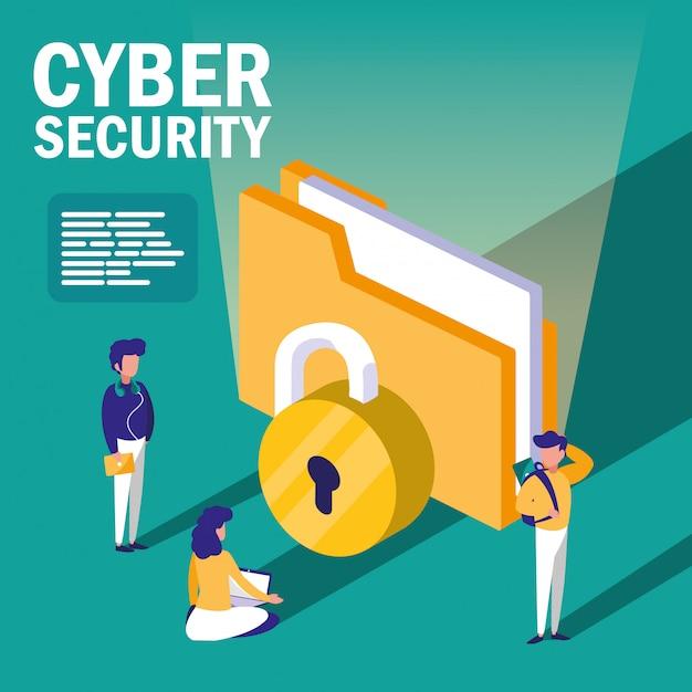 Mini pessoas com pasta de documentos e segurança cibernética Vetor Premium