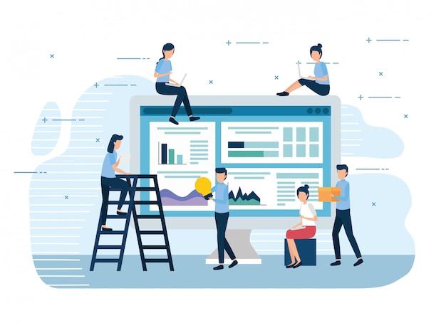 Mini trabalhadores de trabalho em equipe com computador e ícones Vetor Premium