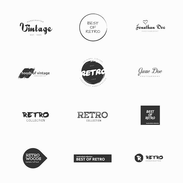 Minimal vintage e ilustrações vetoriais de vetores retro Vetor Premium