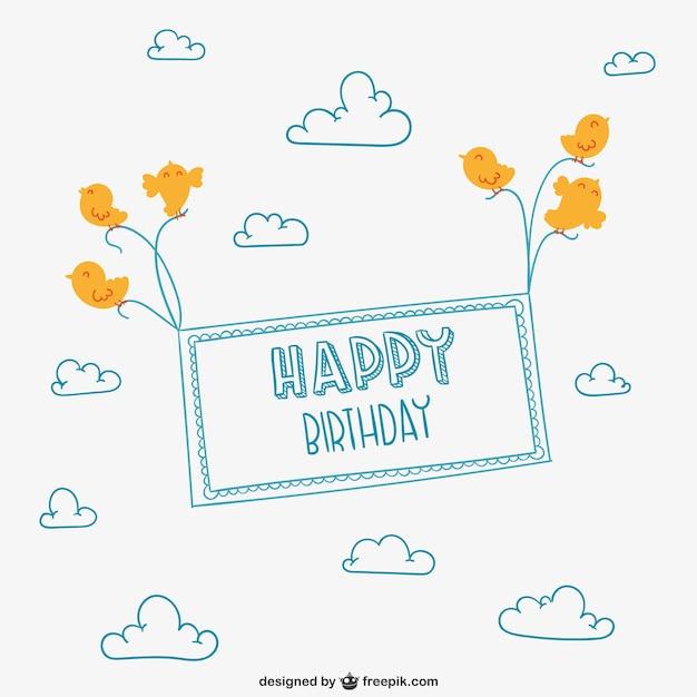 Minimalista feliz cartão de aniversário Vetor grátis
