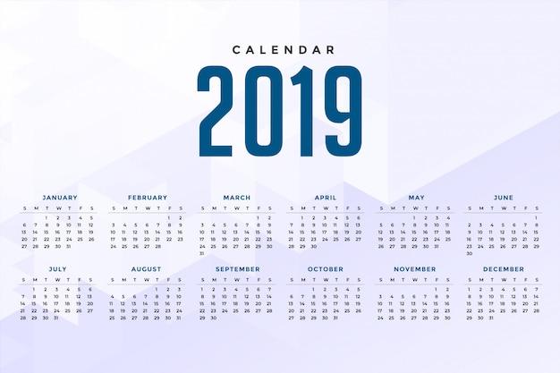Mínimo design de calendário 2019 branco | Baixar vetores ...