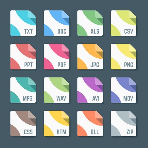 Mínimo vários formatos de arquivo colorido de design plano ícones fundo escuro Vetor Premium