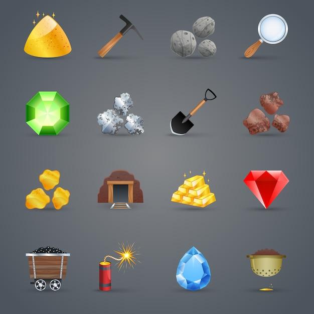 Mining game icons Vetor grátis