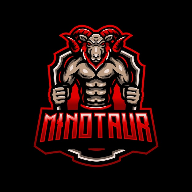 Minotauro cabra mascote logotipo esport gaming Vetor Premium