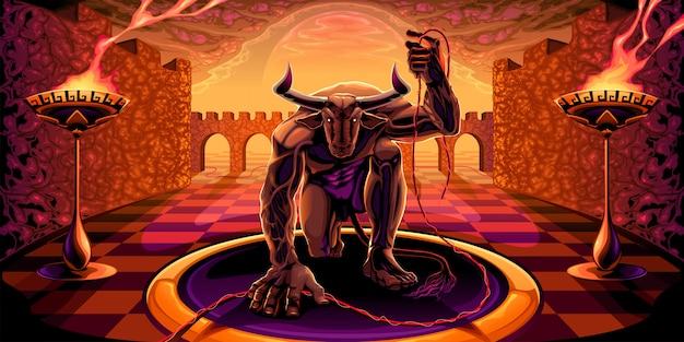 Minotauro no labirinto com um filamento na mão Vetor Premium