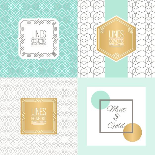 Mint e design de fundo de ouro Vetor Premium