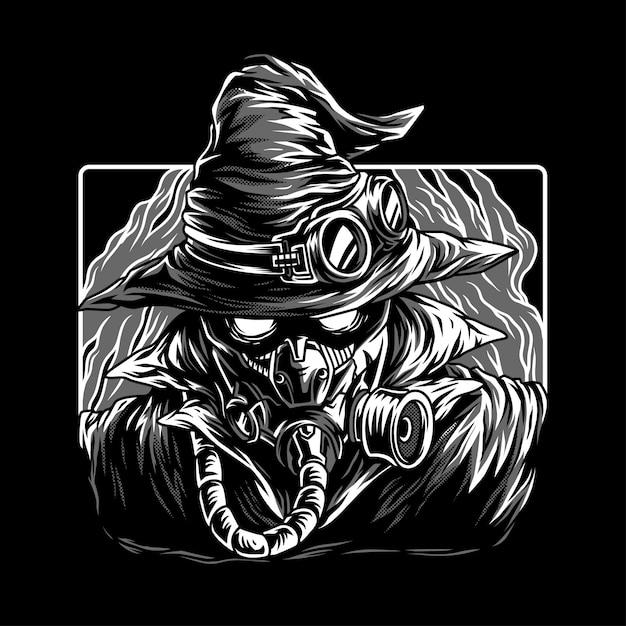 Mistério escuro preto & branco ilustração Vetor Premium