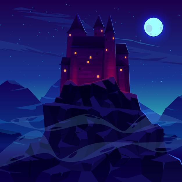 Misterioso castelo medieval com torres de torres de pedra Vetor grátis