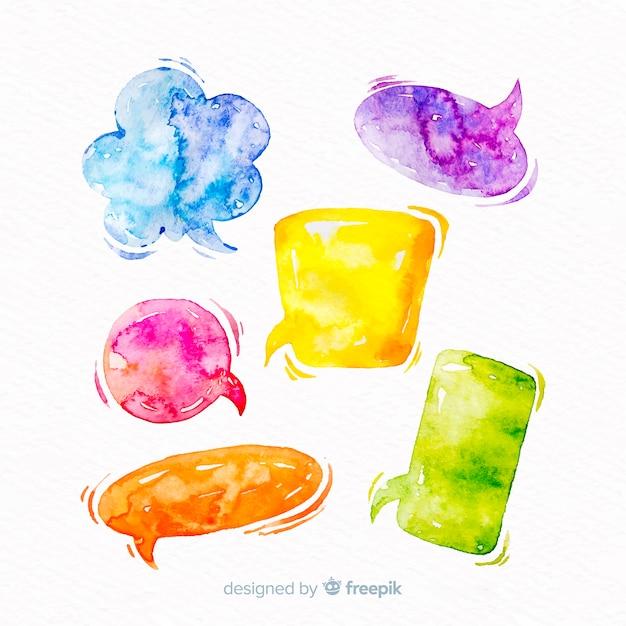 Mistura de bolhas de discurso watercolored vívida Vetor grátis