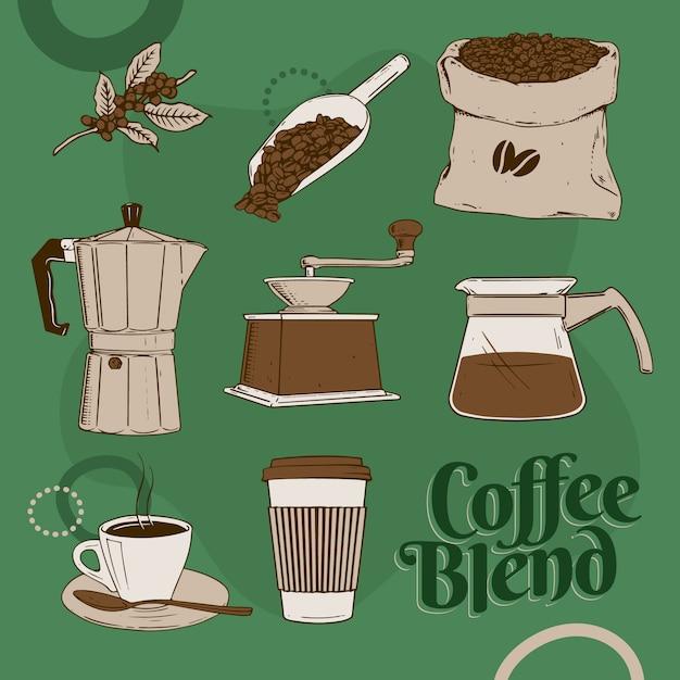 Mistura de café Vetor Premium