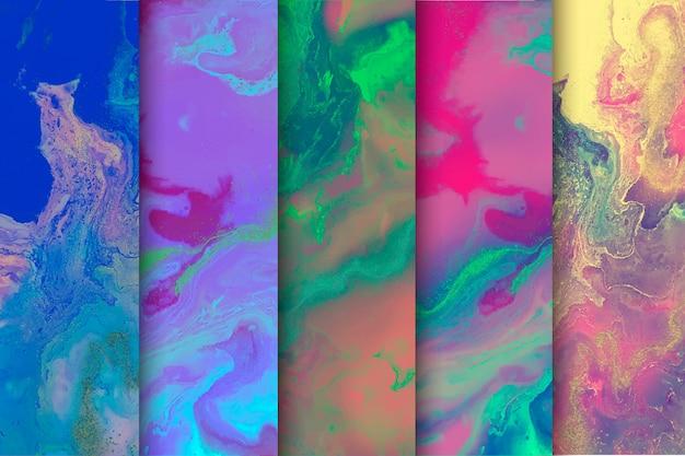 Mistura de fundo colorido coleção de mármore Vetor grátis